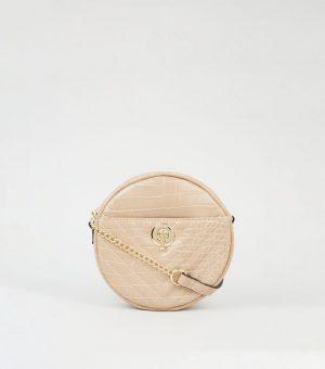 Camel Faux Croc Circle Bag