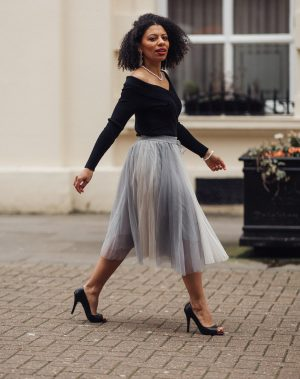 Amore Mesh Tulle Skirt in grey